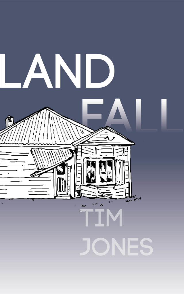 Landfall cover with drawing of delapidated house on blue background