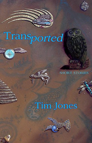 Transported cover is turquoise and brown with various objects including a compass and an owl