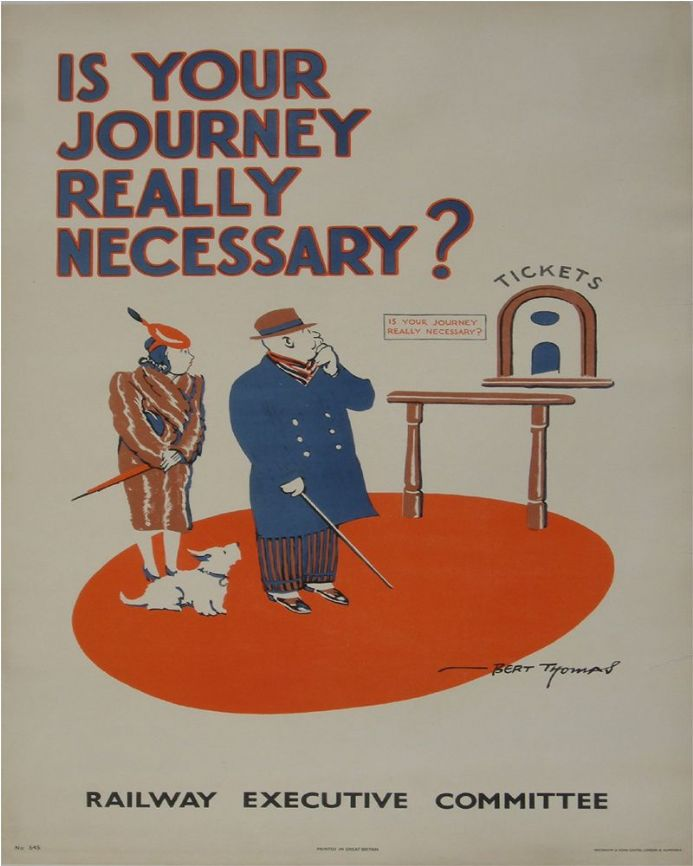 "World War 2 poster showing a couple pondering a journey, with caption ""Is Your Journey Really Necessary""?"