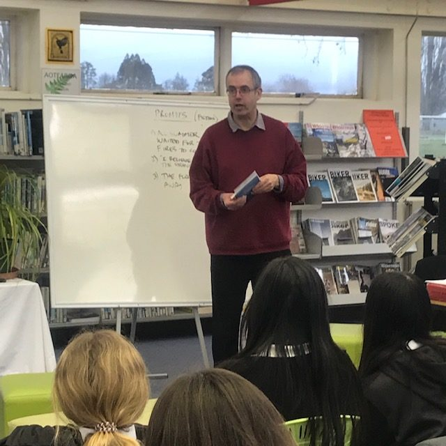 Tim Jones running a Writers in Schools workshop at Motueka High School