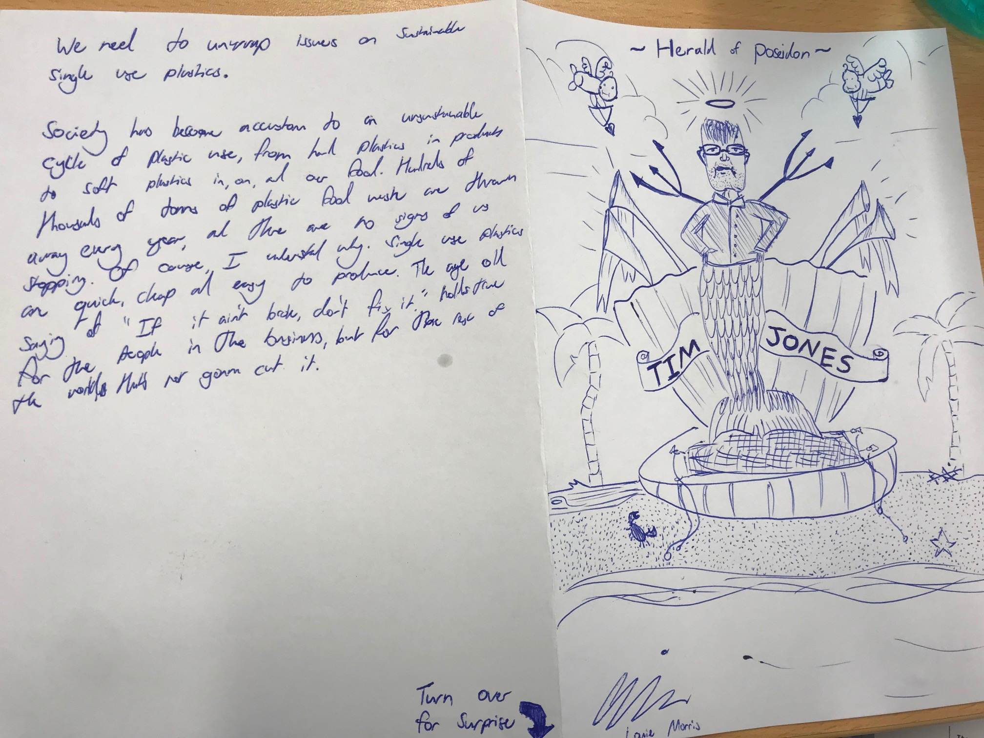 Handwriting and hand-drawn image of Tim Jones by a Motueka High School student